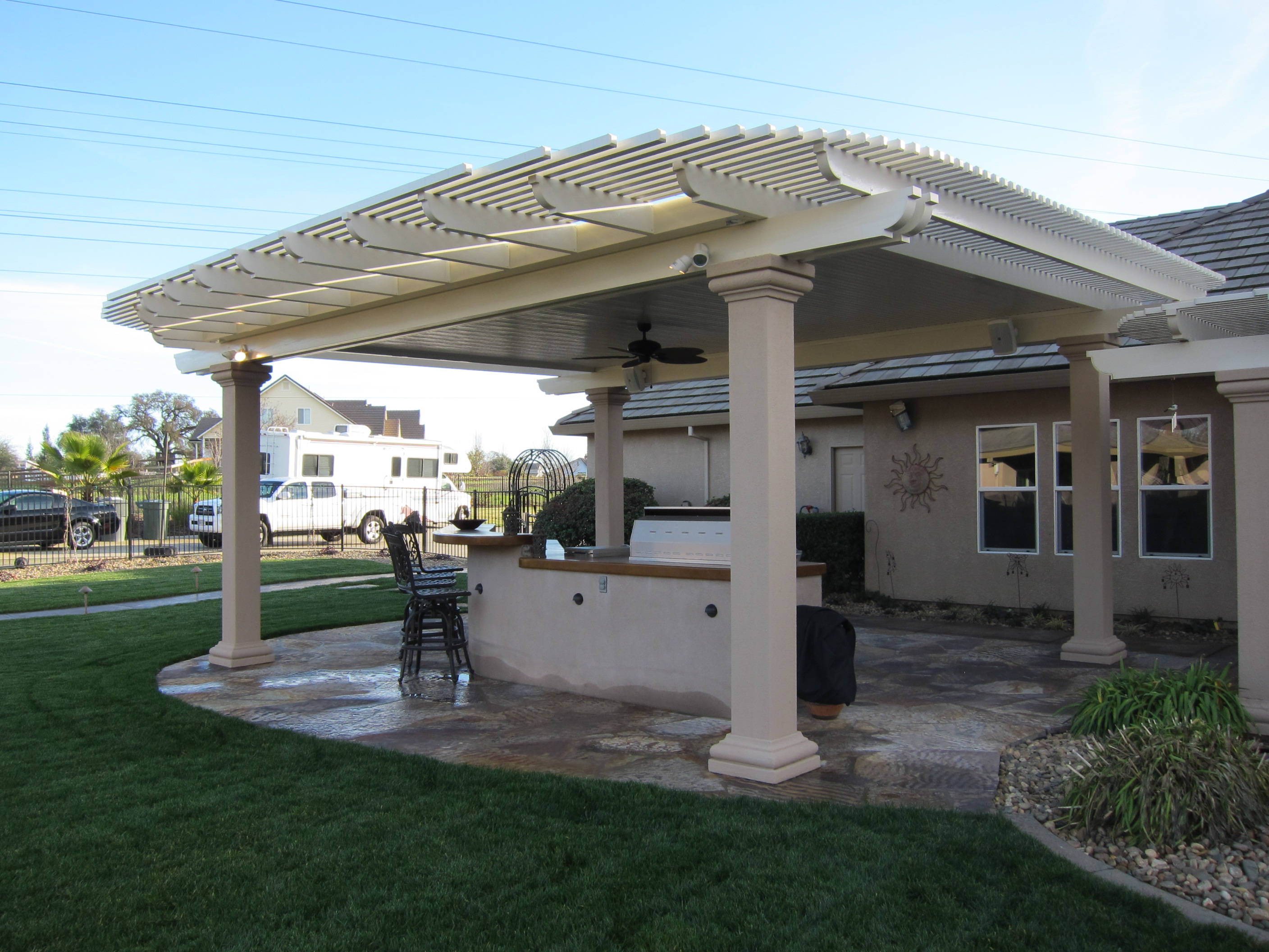 Combination Solid And Lattice Patio Covers